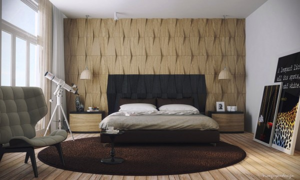 The wood wall behind the bed appears as if it has been woven and offers a dynamic headboard with a color blocked accent in black.