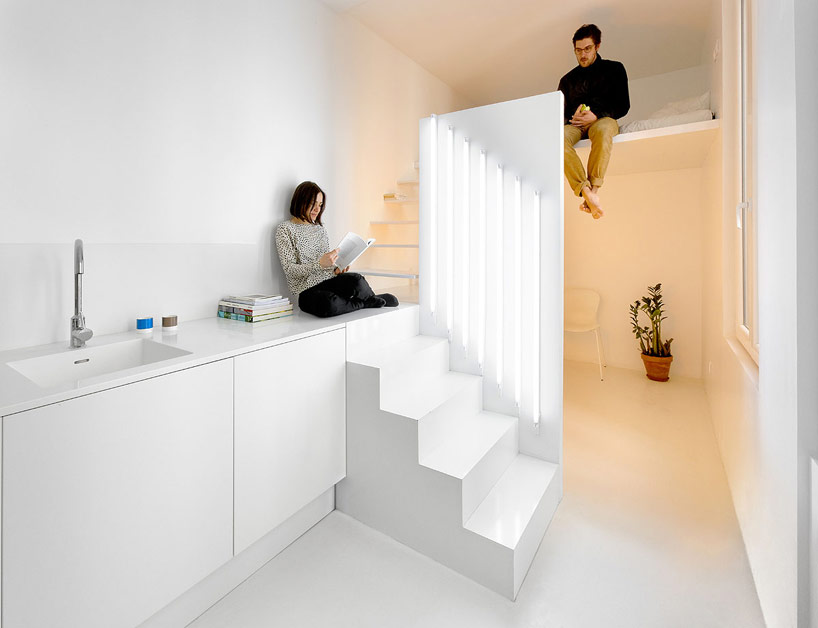 Tiny Parisian Studio Apartment Uses Innovative Lighting Techniques