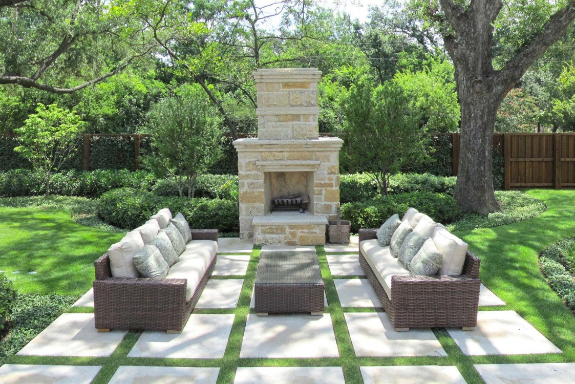 Outdoor living spaces by harold leidner for Area in front of fireplace