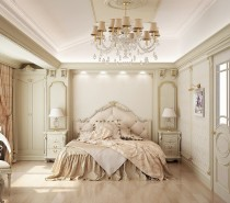 This French inspired bedroom mixes a little romance with elegant formal accents. The soft peach hues warm the otherwise creamy palette.