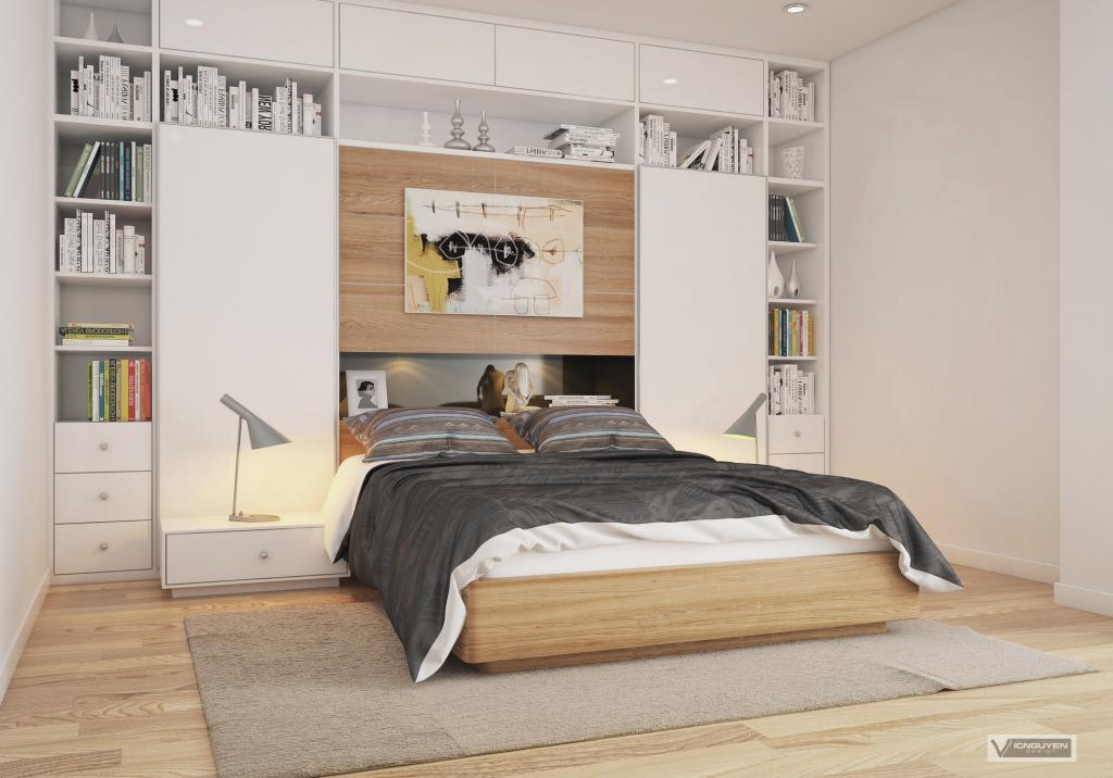 Bedroom shelf interior design ideas for Apartment bedroom decoration