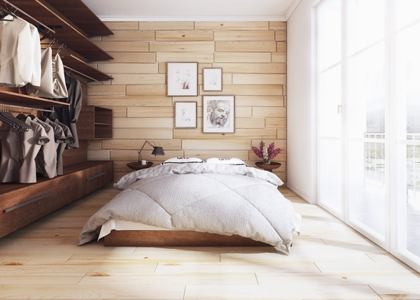 The back wall of this natural style bedroom mimics the flooring for a mirrored effect. An open closet adds interest to the space.