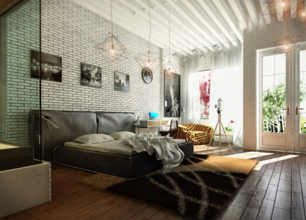 An exposed brick wall adds both texture and pattern to this eclectic bedroom as does the beamed ceiling.