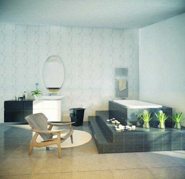 cool bathroom with elevated tub