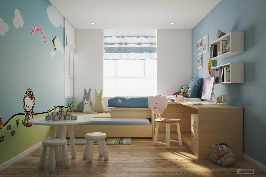 Kids Bedroom Study Room Interior Design Ideas