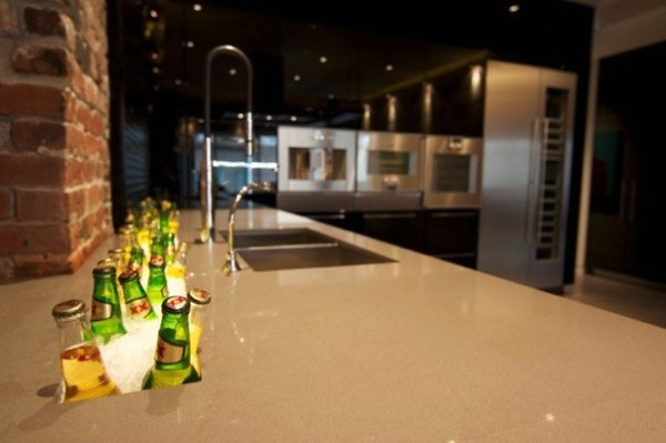 A 6-foot up-lit trough sink runs the length of the kitchen counter keeping chilled libations within easy reach.