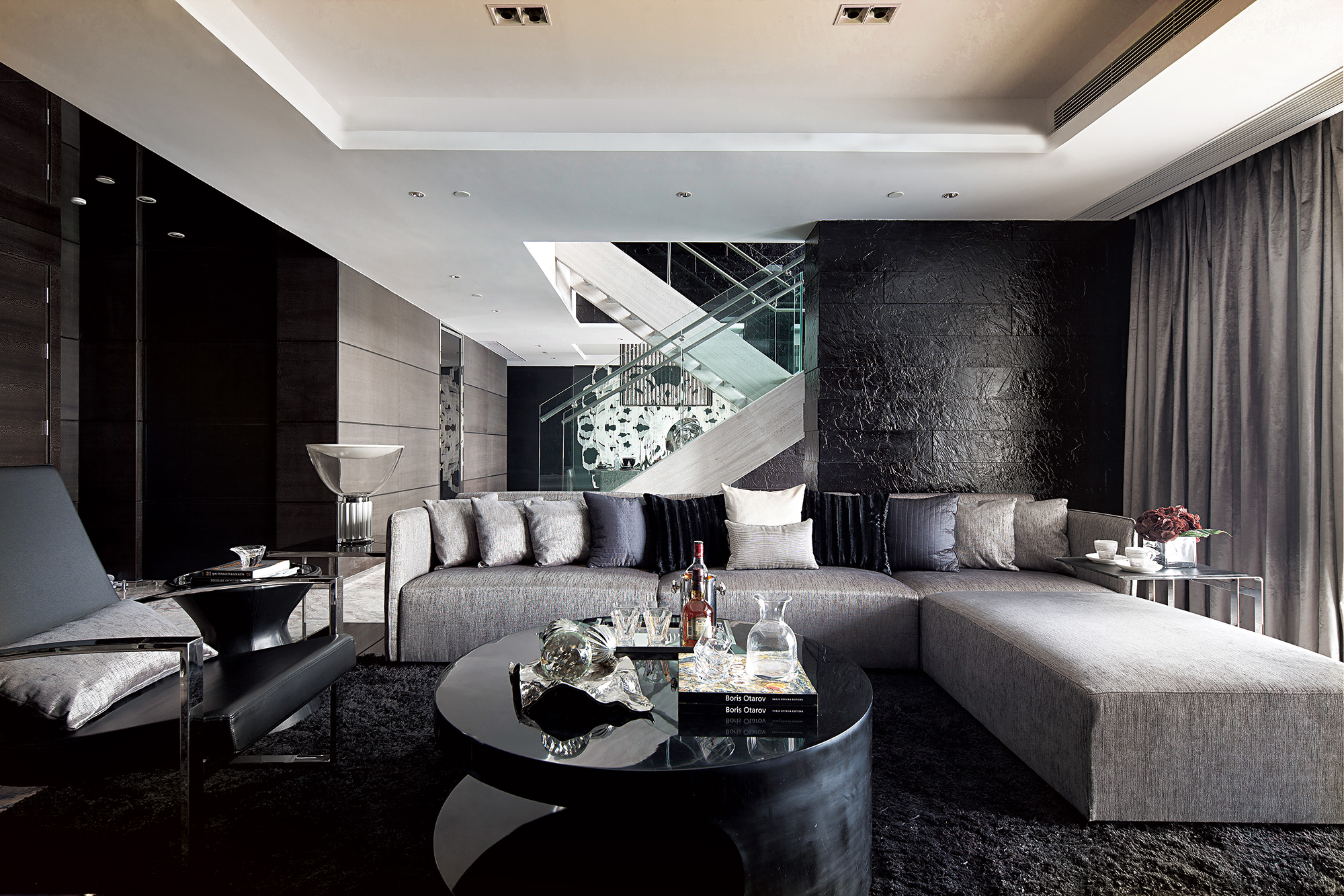 Synergistic modern spaces by steve leung for Black grey interior design