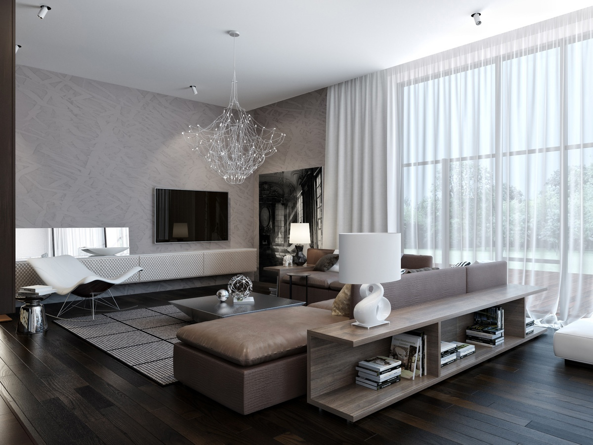 Modern house interiors with dynamic texture and pattern for Modern apartment living room