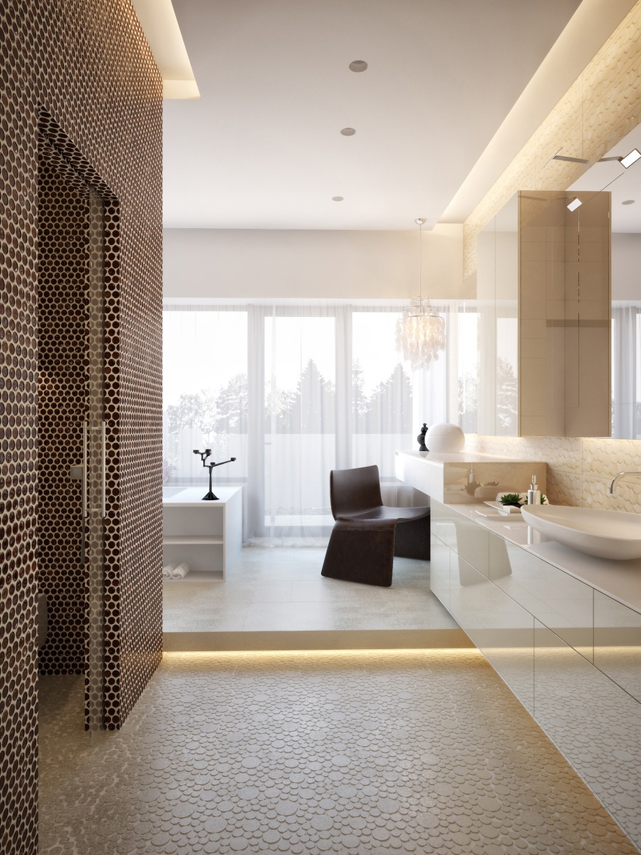 Modern house interiors with dynamic texture and pattern for Modern master bathroom