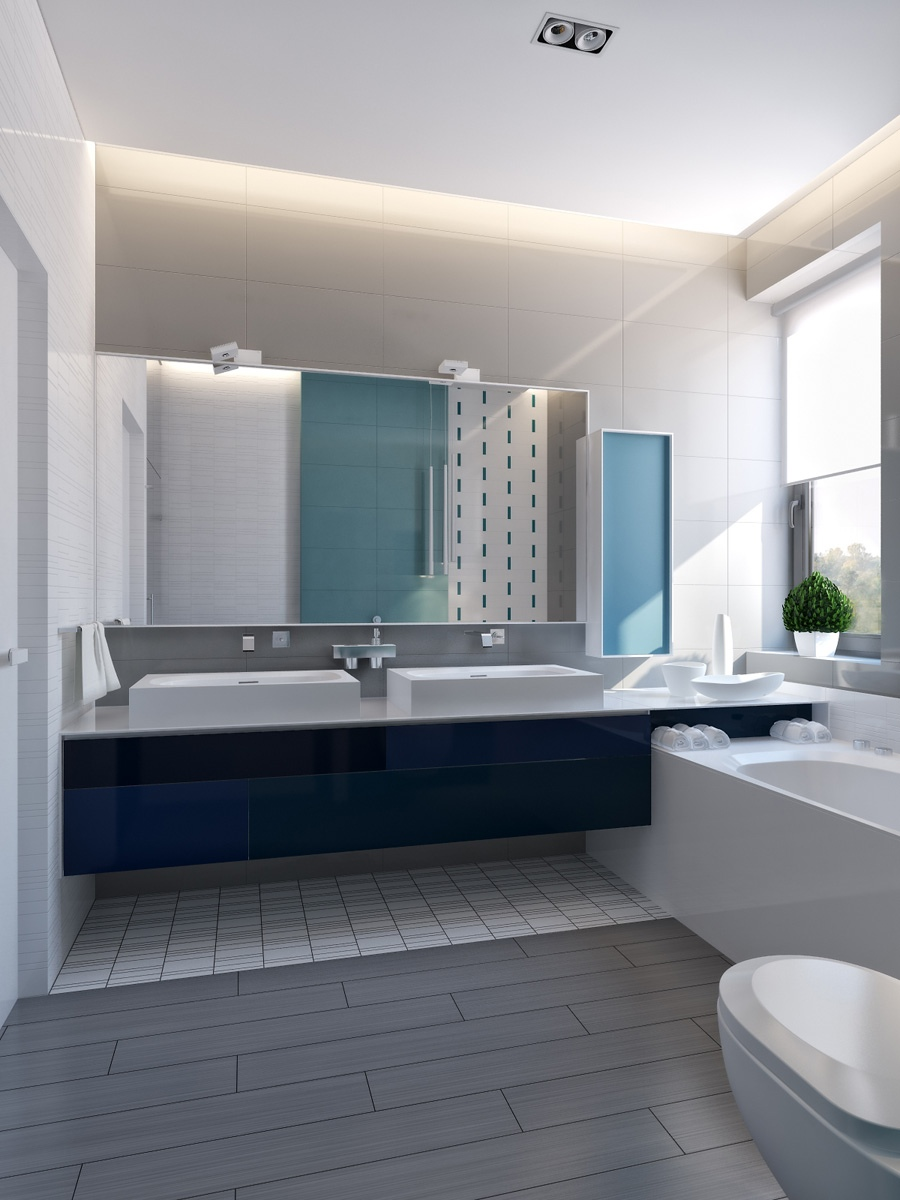 Modern vibrant blue bathroom 1 interior design ideas for Blue bathroom ideas
