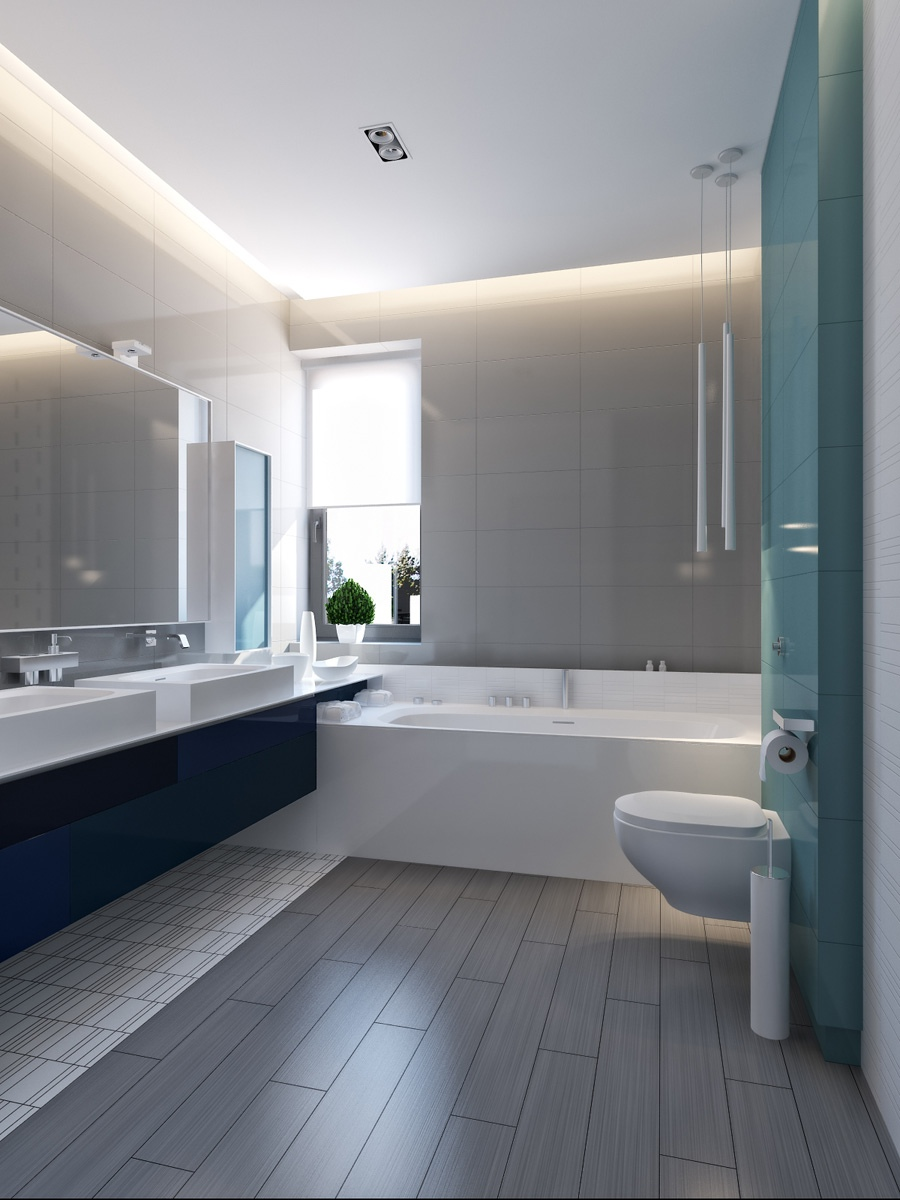 modern vibrant blue bathroom 3 | Interior Design Ideas.