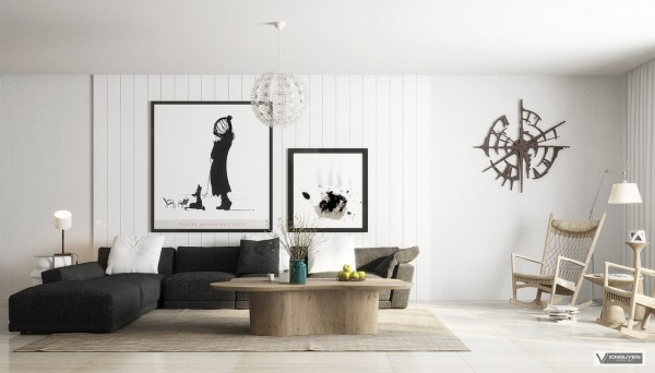monochrome lounge with light organic accents