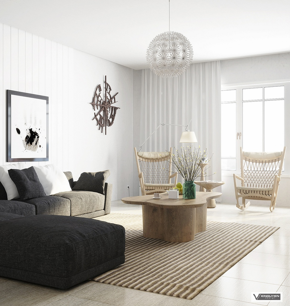 Monochrome lounge with light wooden accents interior for Monochrome interior design ideas