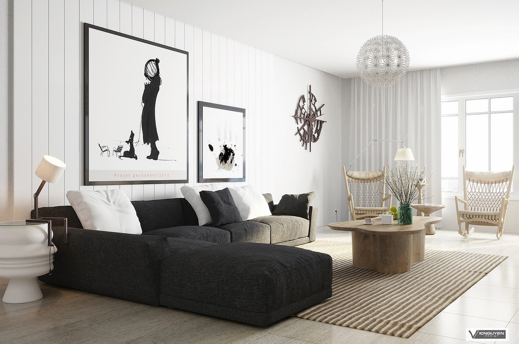 Monochrome lounge with organic accents interior design for Monochrome design ideas