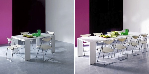 A seriously small console table expands to a dining table for 10. Simply amazing!