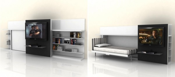 A sliding media center unveils a fold out twin bed behind. What bachelor wouldn't love this set up?