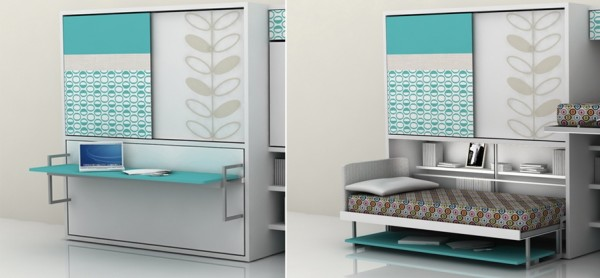 This is a terrific multipurpose unit for teens. A twin bed folds easily out of the wall from above the computer desk.