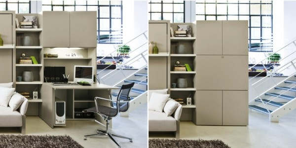 A roomy office unfolds from an enclosed cabinet. This would be a dream for anyone who works at home but is short on square footage.
