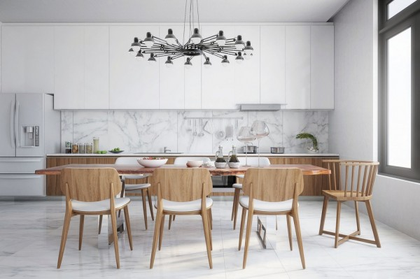 organic vibe kitchen dining with industrial lighting
