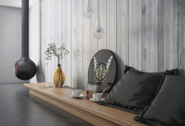 organic vibe living wooden bench and suspended fireplace