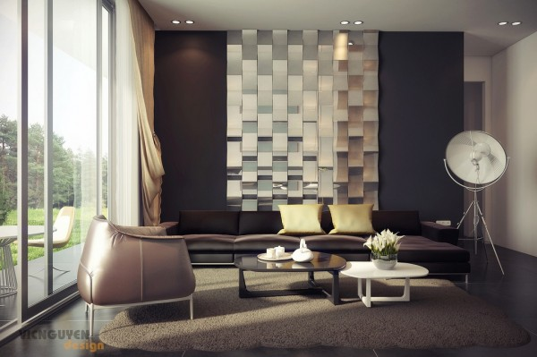 rich palette living with mirrored feature wall
