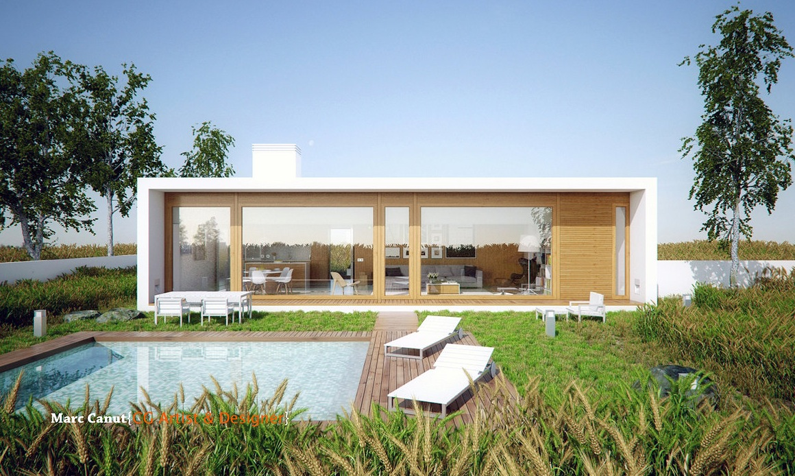 A fresh take on the guest house by marc canut visualized for House with guest house
