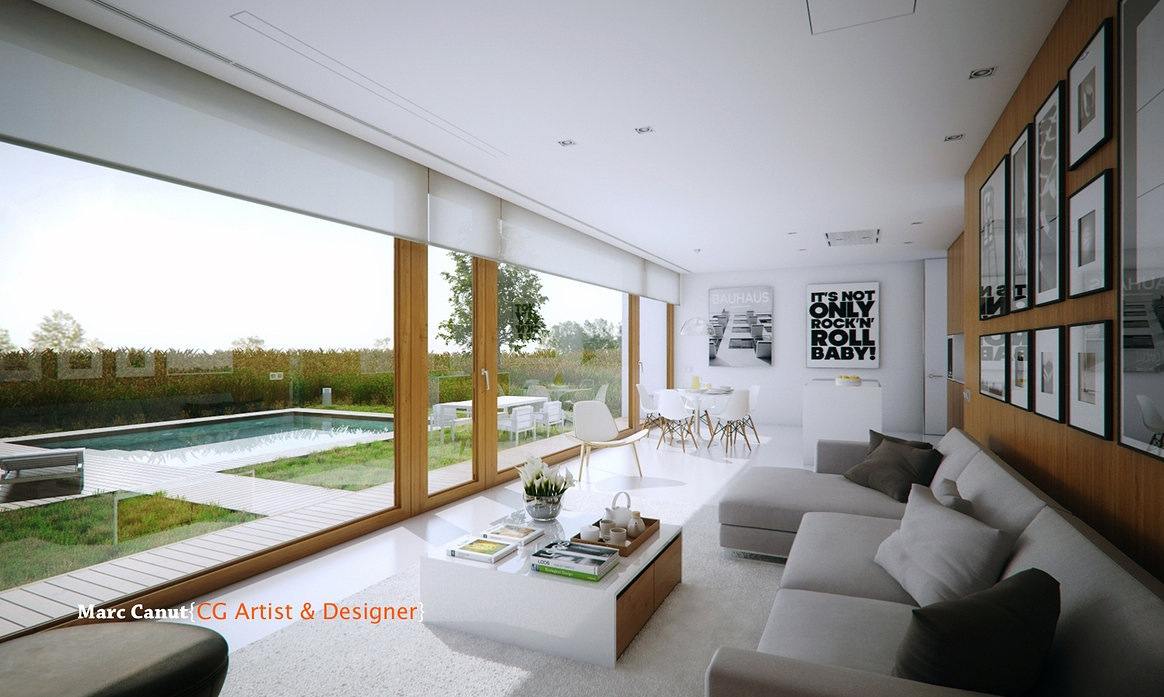 A fresh take on the guest house by marc canut visualized Inside house living room