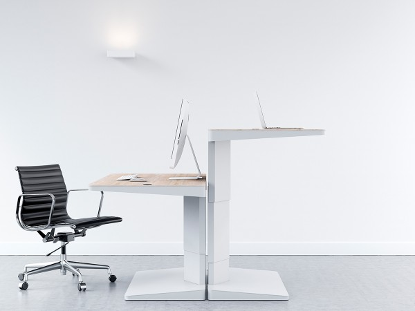 The 'Alpha line of ergonomic office furniture from KEMBO offers the user full control over work position with both standing and sitting adjustable heights.