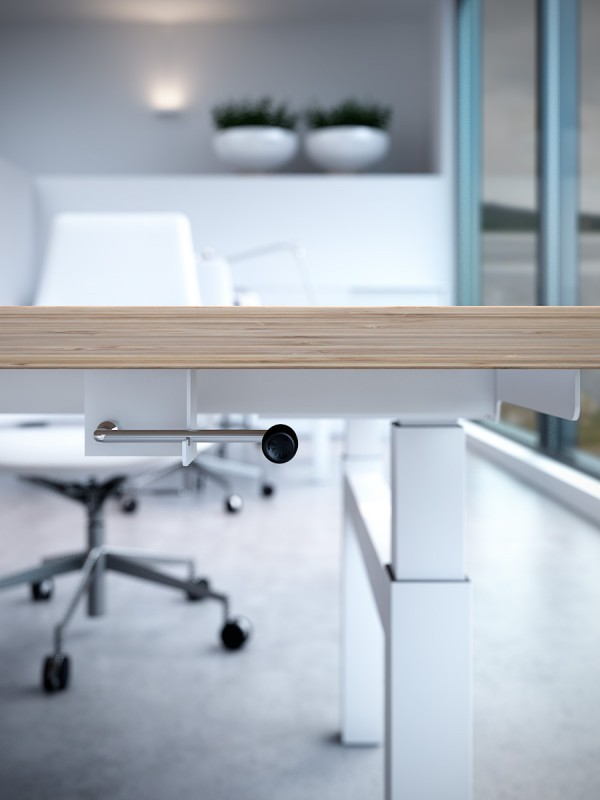 The height adjusting mechanism is shown here on the 'Double' work station.