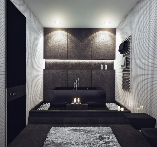 In the bathroom, the mix of stones is truly remarkable. Keeping with the neutral palette, the bathroom offers a unique use of texture with soft plush rugs juxtaposed to both smooth and rough materials. We love the contemporary look and the clean silver accent pieces.