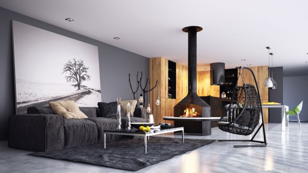 black and wood themed living