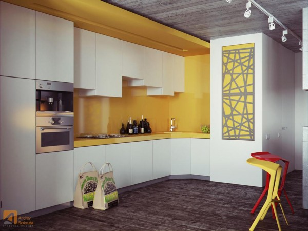 bold yellow backsplash design