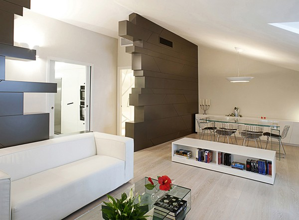 Sleek italian apartment in lucca A sleek apartment the divides rooms creatively