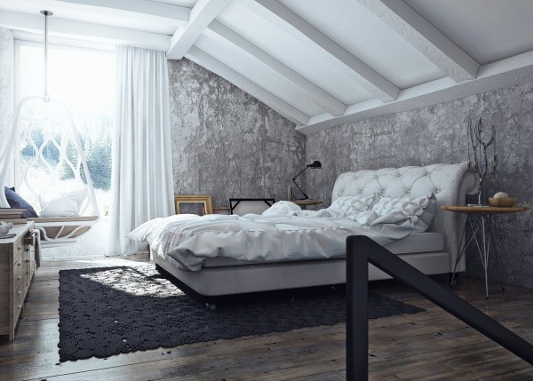 In the bedroom, there's a beautiful mix of old and new. Antiqued picture frames, a tufted headboard, and an interesting woven rug lend vintage glamour to the space, while industrial metal accents and rough gray walls give a little edge to the softness. Simply exquisite.