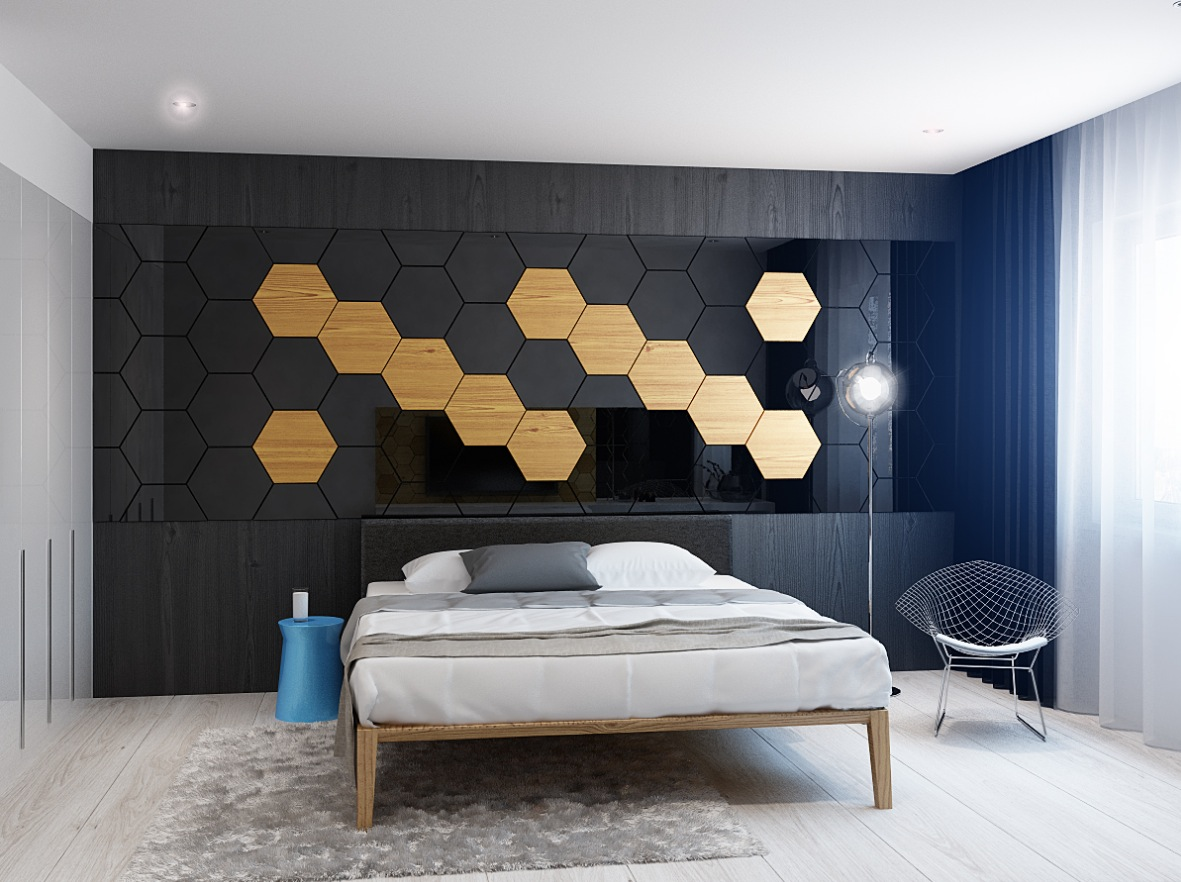 honeycombed wall pattern Interior Design Ideas