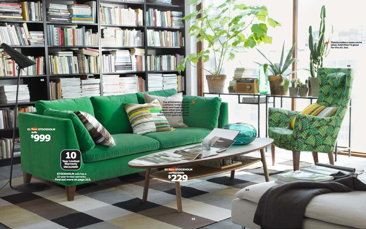 Ikea green living room interior design ideas for Room design green