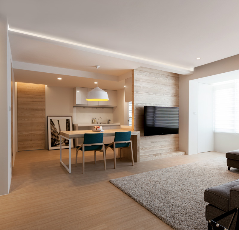 Modern apartment design maximizes space minimizes distraction for Modern small flat interior design