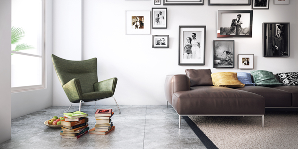 A mid-century modern armchair offers a comfy place to relax and read by a large window.