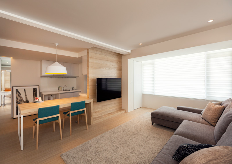 Modern apartment design maximizes space minimizes distraction for Minimalist design