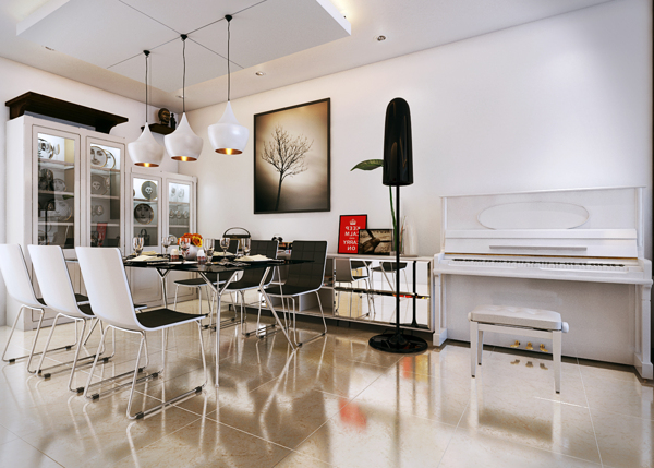 An upright vintage piano adds a fun element to the rather serious modern decor in the dining room.