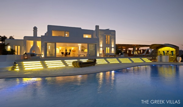 night view mediterranean villa