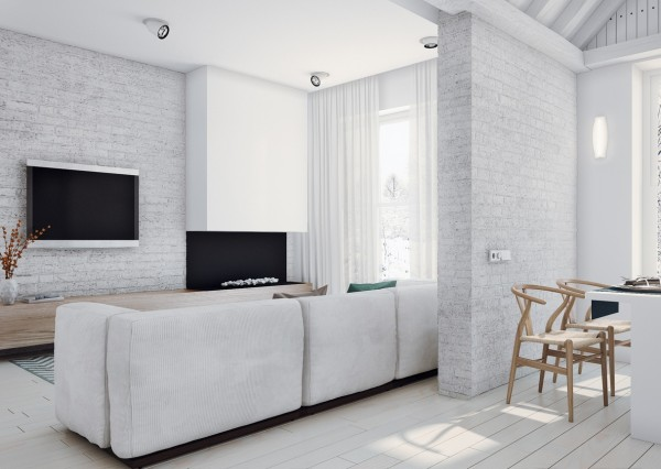 The open floor plan and whitewashed brick keep the clean feeling consistent throughout every room, letting natural light take center stage. This space feels so fresh, yet it does not lose its softness.