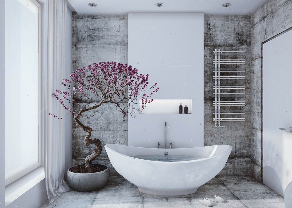 White bathroom violet accents interior design ideas for Bathroom ideas violet