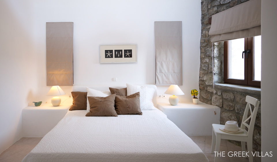 White Bedroom Stone Wall Interior Design Ideas