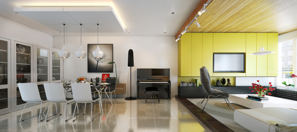 The living room is raised to delineate space between dining area and conversation area. The brilliant yellow is carried through to the media surround.