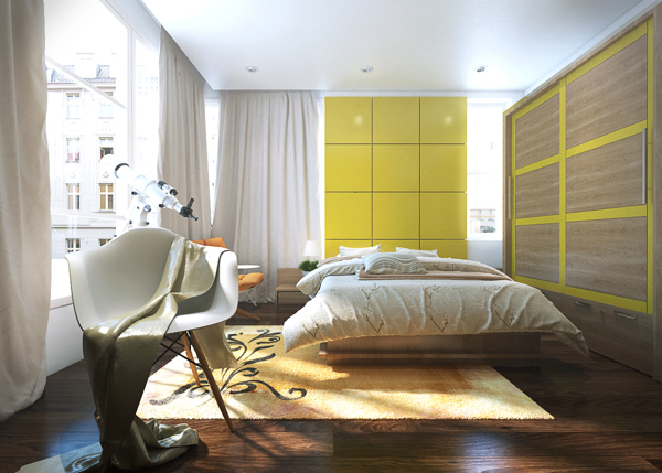 Vivid yellow plays out on a segmented wall above the bed providing a dynamic element in this light-filled bedroom.