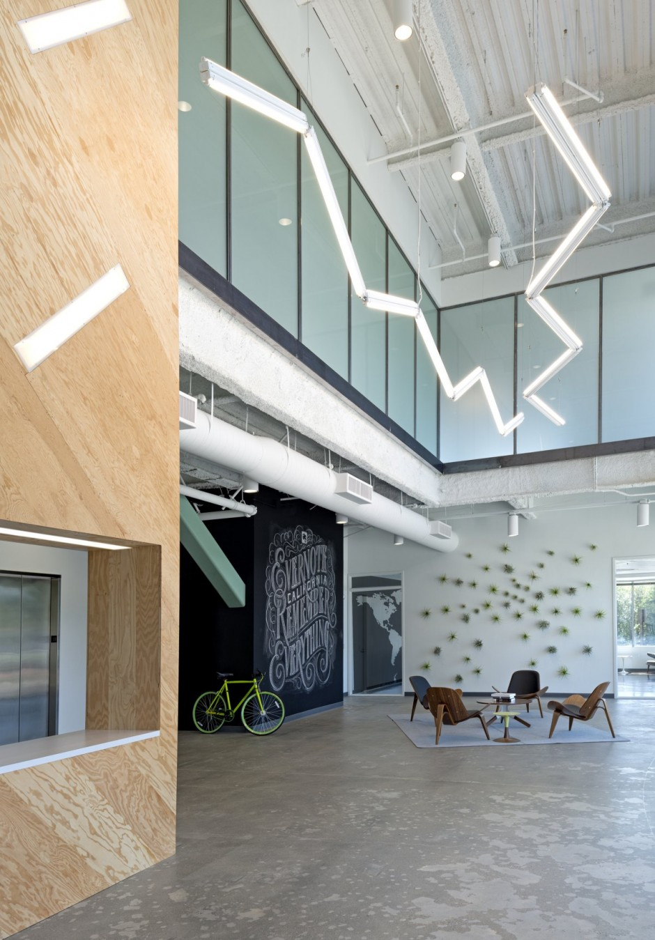Evernote office interiors for Industrial interior design lighting