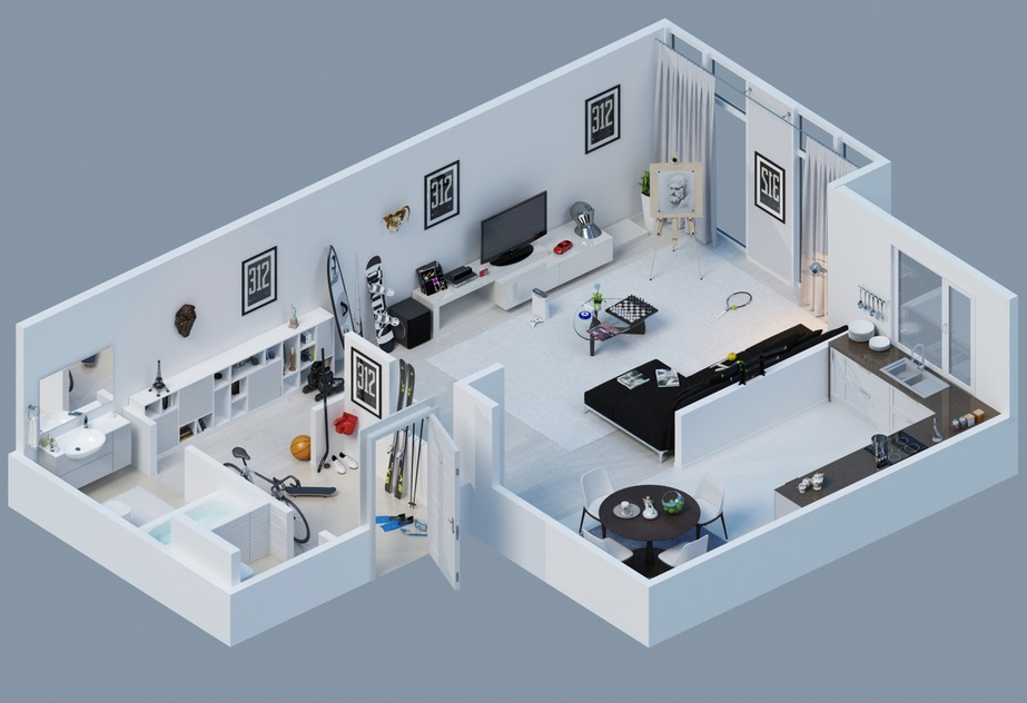 Apartment designs shown with rendered 3d floor plans - One room apartment design plan ...