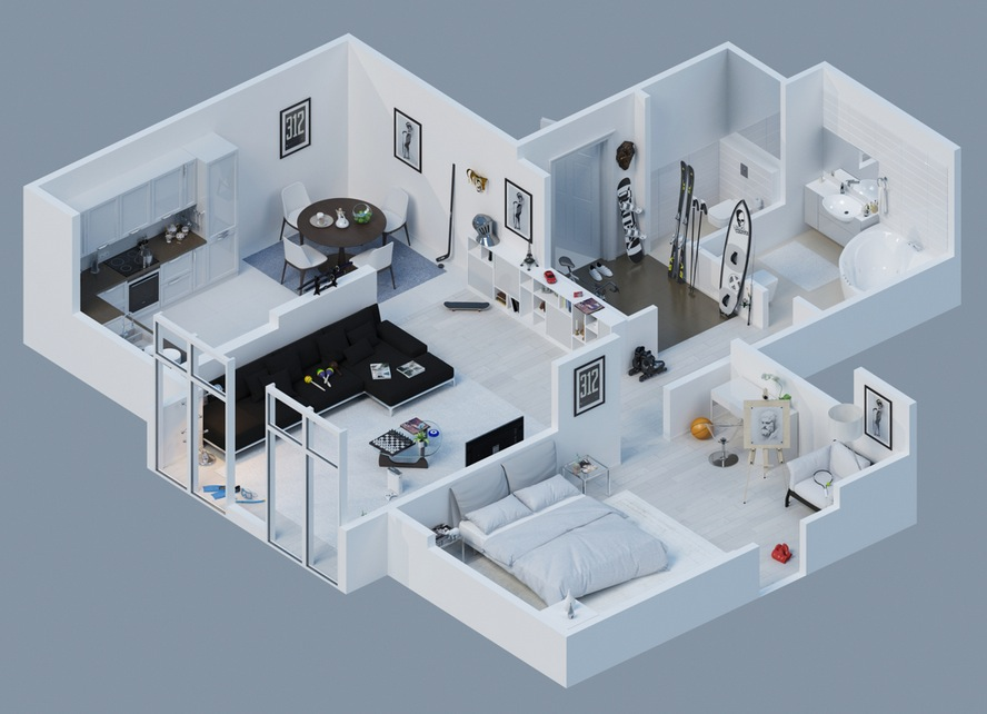 Apartment designs shown with rendered 3d floor plans for One bedroom flat design