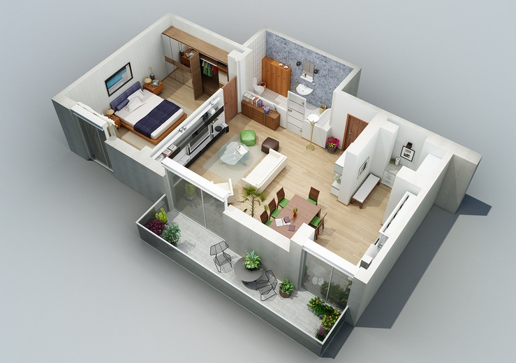 Apartment designs shown with rendered 3d floor plans for Apartment design plans 3d